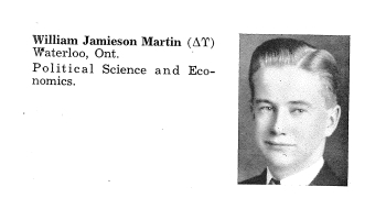 Biography– Entry from Torontonensis, University of Toronto's yearbook, for 1939. Martin graduated from University College.