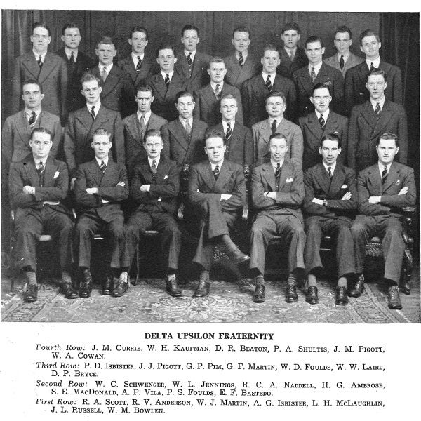 Group Photo– Group photo of Delta Upsilon fraternity members shows Martin in front row, third from photo left. From Torontonensis yearbook, 1939.