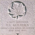Grave Marker– Ths photo of Rfn Mulhern's gravemarker was taken by Padre Craig Cameron of The QOR of C on June 6th, 2003.