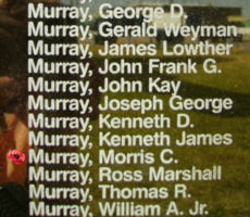 Memorial– Flight Sergeant Morris Campbell Murray is also commemorated on the Bomber Command Memorial Wall in Nanton, AB … photo courtesy of Marg Liessens
