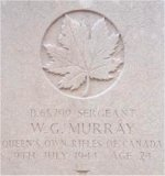 Grave marker– This photo of Sgt Murray's gravemarker was taken by Padre Craig Cameron of The QOR of C in June 1997.