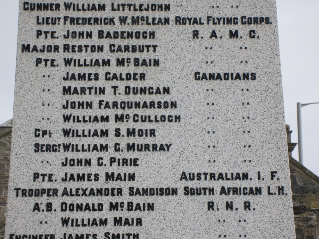 Inscription– Inscription of William George Murray's name on the War Memorial at Portsoy, Aberdeenshire, Scotland. Image taken 28 March 2015 by Tom Tulloch.