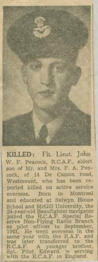 Newspaper Clipping– Flight Lieutenant Navigator John Williamson Frederick Peacock obit Montreal Star Aug 9 1944 courtesy McGill University archives