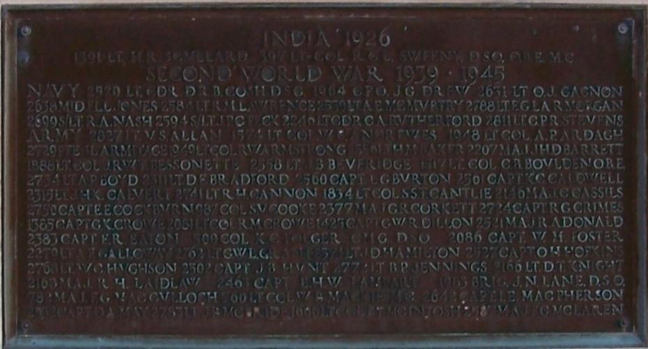 Memorial– Ex-cadets are named on the Memorial Arch at the Royal Military College of Canada in Kingston, Ontario and in memorial stained glass windows to fallen comrades.  1872 Maj Gavin Fraser Rainnie (RMC 1925) was the son of Joseph Gavin Rainnie and Constance Vail Rainnie. He was the husband of Kathleen Logan Rainnie, of Halifax, Nova Scotia. He served with the Royal Canadian Artillery. He died on Jun 6 1944 at 36 years of age. He died in the Beny-sur-Mer Canadian War Cemetery in Calvados, France II H.11.