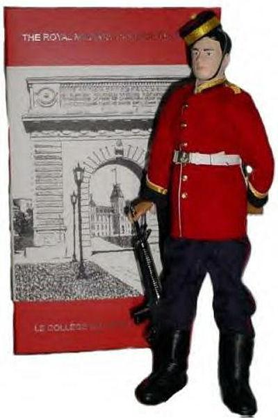 Memorial Doll– Ex-cadets are named on the Memorial Arch at the Royal Military College of Canada in Kingston, Ontario and in memorial stained glass windows to fallen comrades.  1872 Maj Gavin Fraser Rainnie (RMC 1925) was the son of Joseph Gavin Rainnie and Constance Vail Rainnie. He was the husband of Kathleen Logan Rainnie, of Halifax, Nova Scotia. He served with the Royal Canadian Artillery. He died on Jun 6 1944 at 36 years of age. He died in the Beny-sur-Mer Canadian War Cemetery in Calvados, France II H.11.