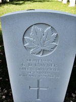 Grave Marker– The new grave marker as it appeared in 2010 at the Beny-sur-Mer Canadian War Cemetery, located outside Reviers, about 4  kilometres from Juno Beach in Normandy, France. May he rest in peace. (K. Falconer & J. Stephens)