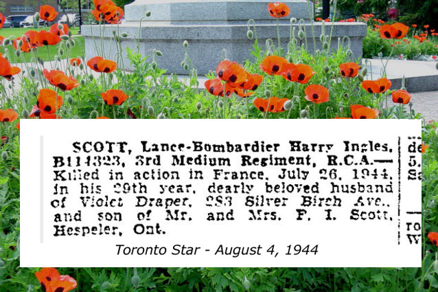 Newspaper clipping– In grateful memory for your service and sacrifice.