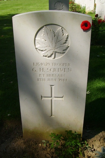 Grave Marker– Grave marker - Beny-sur-Mer Canadian War Cemetery - August 2012 Photo courtesy of Marg Liessens