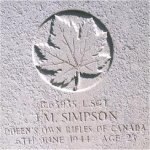 Grave Marker– This photo of Sgt Simpson's gravemarker was taken by Padre Craig Cameron on June 6th, 2003.