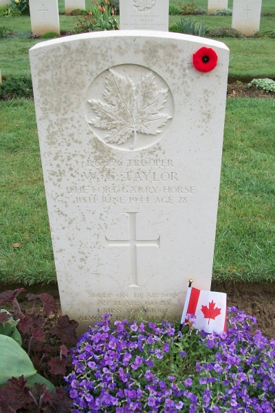 Grave Marker– Grave marker - Beny-sur-Mer Canadian War Cemetery - April 2017 … photo courtesy of Marg Liessens