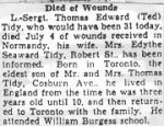 Obituary– Copy of the obituary of Lance Sergeant Tidy published in a Toronto paper in July 1944.
