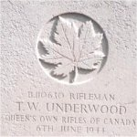 Grave Marker– This photo of Rfn Underwood's gravemarker was taken by Padre Craig Cameron of The QOR of C in June 1997.