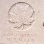 Grave marker– This photo of Rfn Willis's gravemarker was taken by Padre Craig Cameron of The QOR of C in June 1997.