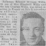 Newspaper clipping– This obituary of Rfn Willis was clipped from a Toronto paper in 1944 by Mrs. Ula Richardson. It has been kept in a collection of articles on the QOR in WW II.