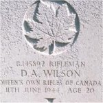 Grave marker– This photo of Rfn Wilson's gravemarker was taken by Padre Craig Cameron on June 6th, 2003.