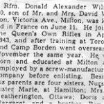 Newspaper clipping– This obituary of Rfn Wilson was obtained from a microfilm version of a Toronto newspaper from 1944.