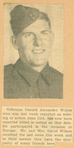 Photo of DONALD ALEXANDER WILSON– newspaper MIA-KIA