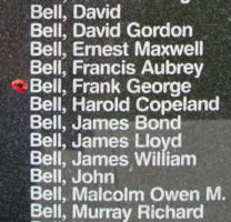 Memorial– Warrant Officer Class II Frank George Bell is also commemorated on the Bomber Command Memorial Wall in Nanton, AB … photo courtesy of Marg Liessens