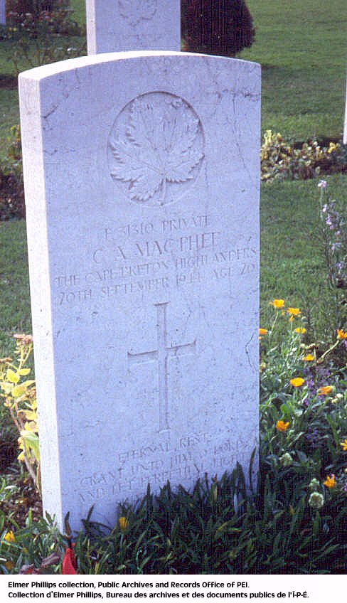 Grave marker for C.A. Macphee