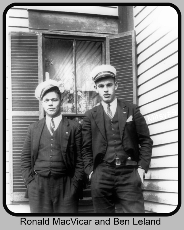 "Group Photo– ""Best Friends"" Ronald MacVicar and L. J. ""Ben"" Leland before enlisting, while still in Saint George NB area. Posted by Marilyn Leland Bennett, Ben's daughter."