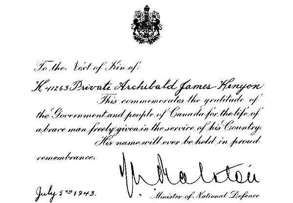 Letter from the Minister of Defence