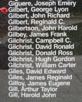 Memorial– Flying Officer George Lyon Gilbert is also commemorated on the Bomber Command Memorial Wall in Nanton, AB … photo courtesy of Marg Liessens