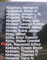 Memorial– Flight Sergeant Raymond Arthur Kirk is also commemorated on the Bomber Command Memorial Wall in Nanton, AB … photo courtesy of Marg Liessens