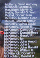 Memorial– Warrant Officer Class II Donald Ross McKinnon is also commemorated on the Bomber Command Memorial Wall in Nanton, AB … photo courtesy of Marg Liessens