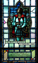 """Stained Glass Window– In Yeo Hall Chapel at the Royal Military College of Canada a stained glass memorial window is `Dedicated to the memory of our beloved son S/L Ian G.A. McNaughton, R.C.A.F., RMC 2588. He was born 6 Nov. 1919. He was the son of General Andrew A. G. L. McNaughton and Mrs. Mabel C. S. McNaughton (nee Weir), of Ottawa, Ontario. He was a graduate of Royal Military College, Kingston, Ontario. He was killed in action over Germany, 23 June 1942.   Ephesians 6:11  """"Put on the whole armour of god""""… so that you can take your stand against the devil's schemes.   In loving memory of  No. 2609 Flight Lieutenant Ian Macdonnell Sutherland-Brown. R.I.P."""