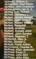 Memorial– Squadron Leader Ian George Armour McNaughton is also commemorated on the Bomber Command Memorial Wall in Nanton, AB … photo courtesy of Marg Liessens
