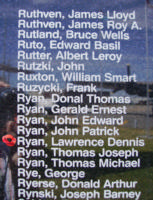 Memorial– Flight Sergeant Lawrence Dennis Ryan is also commemorated on the Bomber Command Memorial Wall in Nanton, AB … photo courtesy of Marg Liessens