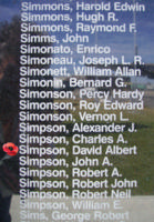 Memorial– Pilot Officer David Albert Simpson is commemorated on the Bomber Command Memorial Wall in Nanton, AB … photo courtesy of Marg Liessens