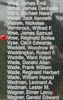 Memorial– Sergeant Reginald Bolles Vose is also commemorated on the Bomber Command Memorial Wall in Nanton, AB … photo courtesy of Marg Liessens