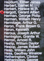 Memorial– Pilot Officer Gerard Albert Hergott is also commemorated on the Bomber Command Memorial Wall in Nanton, AB … photo courtesy of Marg Liessens