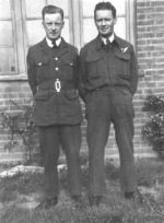 Photo of Harold James Hurley & Cecil Vincent Thomas Hurley– Pilot Officer, AG (Air Gunner),  Harold James Hurley (right facing), #426 Thunderbird Squadron, with brother, Cecil Vincent Thomas Hurley (left facing), #419 Photographic Squadron, taken while both posted at Dishforth, Yorkshire Airfield, England 1942.