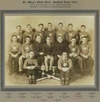 "Group Photo– Softball Team 1935–  Harold Hurley, ""Uncle Hal"", All-Star Baseball Champion and Pitcher."
