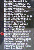 Memorial– Pilot Officer Harold James Hurley is also commemorated on the RCAF Bomber Command Memorial Wall in Nanton, AB, Canada … photo courtesy of Marg Liessens