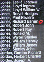 Memorial– Pilot Officer Richard Barron Jones is also commemorated on the Bomber Command Memorial Wall in Nanton, AB … photo courtesy of Marg Liessens