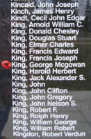 Memorial– Flight Sergeant George Mccowan King as commemorated on the Bomber Command Memorial Wall in Nanton, AB … photo courtesy of Marg Liessens