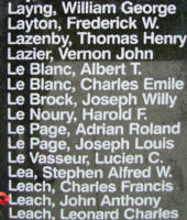 Memorial– Flight Sergeant John Anthony Leach is also commemorated on the Bomber Command Memorial Wall in Nanton, AB … photo courtesy of Marg Liessens