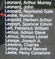 Memorial– Warrant Officer Class II Nuncie Leone is also commemorated on the Bomber Command Memorial Wall in Nanton, AB … photo courtesy of Marg Liessens