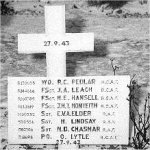 Grave Marker– Gravesite of crew visited by EG Hansell M.P. the father  of crew member Harry Hansell.