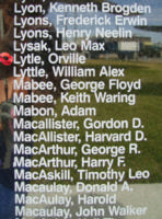 Memorial– Pilot Officer Orville Lytle is also commemorated on the Bomber Command Memorial Wall in Nanton, AB … photo courtesy of Marg Liessens