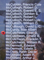 Memorial– Flight Lieutenant Elvet Baxter NcCutcheon is also commemorated on the Bomber Command Memorial Wall in Nanton, AB … photo courtesy of Marg Liessens