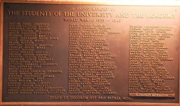 Inscription– Mount Allison University, plaque honouring students who served, and died, in World War II