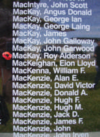 Memorial– Pilot Officer Roy Alderson MacKay is also commemorated on the Bomber Command Memorial Wall in Nanton, AB … photo courtesy of Marg Liessens