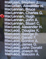 Memorial– Warrant Officer Class II Hugh MacLennan is also commemorated on the Bomber Command Memorial Wall in Nanton, AB … photo courtesy of Marg Liessens