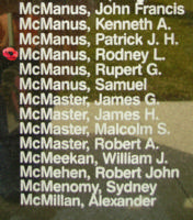Memorial– Sergeant Rodney Lewis McManus is also commemorated on the Bomber Command Memorial Wall in Nanton, AB … photo courtesy of Marg Liessens