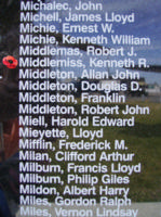 Memorial– Pilot Officer Kenneth Robert Middlemiss is also commemorated on the Bomber Command Memorial Wall in Nanton, AB … photo courtesy of Marg Liessens
