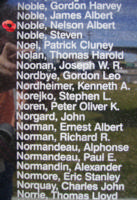 Memorial– Warrant Officer Class II Nelson Albert Noble is also commemorated on the Bomber Command Memorial Wall in Nanton, AB … photo courtesy of Marg Liessens